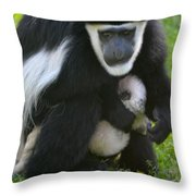 Colobus Monkey With Baby Throw Pillow