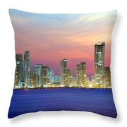 Colombia. Cartagena. The City At Night. Throw Pillow