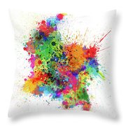 Colombia Paint Splashes Map Throw Pillow
