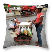 Colombia Srteet Cart Throw Pillow