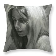 Portrait Of Woman In Charcoal Throw Pillow
