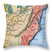 Colonial America Map Throw Pillow