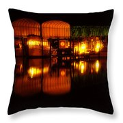 Colonial Beach Docks After Dark Throw Pillow
