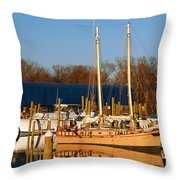 Colonial Beach Docks Throw Pillow