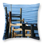 Colonial Beach Pilings Throw Pillow
