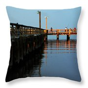 Colonial Beach Town Pier Throw Pillow