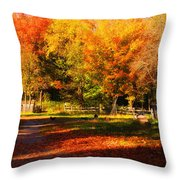 Colonial Fall Colors Throw Pillow