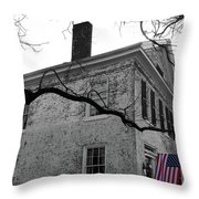 Colonial House With Flag Throw Pillow