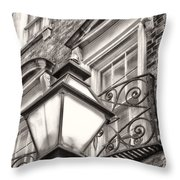 Colonial Lamp And Window Bw Throw Pillow