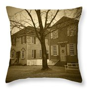 Colonial Shops - Bw Throw Pillow