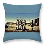 Colonial Soldiers Standing At Attention Throw Pillow