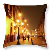 Colonial Street In Central Lima At Night Throw Pillow