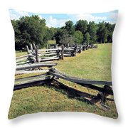 Colonial Zig Zag Fence At Booker T Washingtons Home Throw Pillow