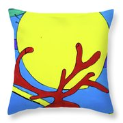 Color Animal Moon Street Art Throw Pillow
