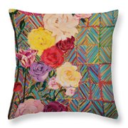 Color Me Roses Throw Pillow