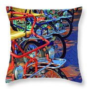 Color Of Bikes Throw Pillow