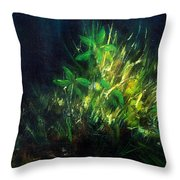 Color Oil Painting Green Plant On Dark Blue Background Throw Pillow