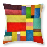 Color Panel Abstract With White Buttons Throw Pillow