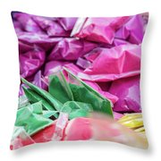 color pigments as an offering in the temple, Chennai, Tamil Nadu Throw Pillow