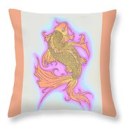 Color Sketch Koi Fish Throw Pillow