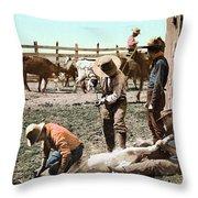 Colorado: Branding Calves Throw Pillow