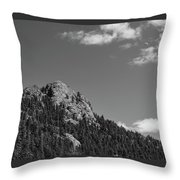 Colorado Buffalo Rock With Waxing Crescent Moon In Bw Throw Pillow