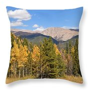 Colorado Rockies National Park Fall Foliage Panorama Throw Pillow
