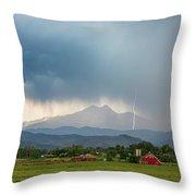 Colorado Rocky Mountain Red Barn Country Storm Throw Pillow