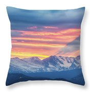 Colorado Rocky Mountain Sunset Waves Of Light Part 1 Throw Pillow
