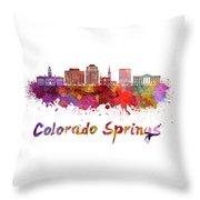 Colorado Springs V2 Skyline In Watercolor Throw Pillow