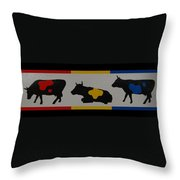 Colored Cows Throw Pillow