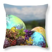 Colored Easter Eggs In Basket And Spring Flowers Throw Pillow