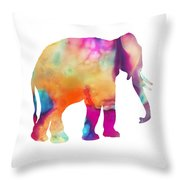 Colored Elephant Painting Throw Pillow