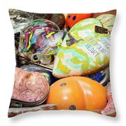 Colored Hearts Throw Pillow