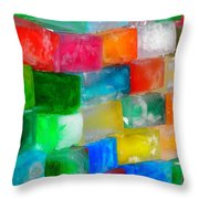 Colored Ice Bricks Throw Pillow