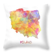 Colored Map Of Poland Throw Pillow