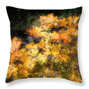 Colored Maple Leaves Throw Pillow