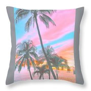 Colored Palms Throw Pillow