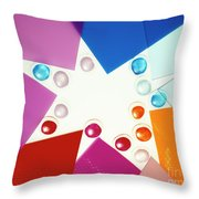 Colored Plexiglas Shapes Throw Pillow