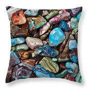 Colored Polished Stones Throw Pillow