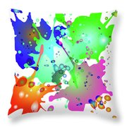 Colored Splashes On A Blue Background Throw Pillow