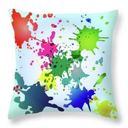Colored Splashes On A Very Beautiful Blue Background Throw Pillow