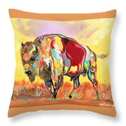 coloredd Buffalo Throw Pillow