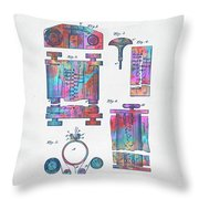 Colorful 1889 First Computer Patent Throw Pillow by Nikki Marie Smith