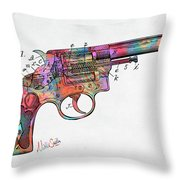 Colorful 1896 Wesson Revolver Patent Throw Pillow by Nikki Marie Smith