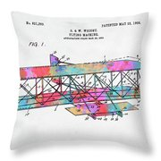 Colorful 1906 Wright Brothers Flying Machine Patent Throw Pillow