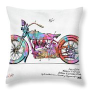 Colorful 1928 Harley Motorcycle Patent Artwork Throw Pillow