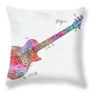 Colorful 1955 Mccarty Gibson Les Paul Guitar Patent Artwork Mini Throw Pillow by Nikki Marie Smith
