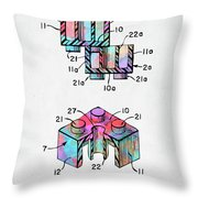 Colorful 1961 Lego Brick Patent Minimal Throw Pillow