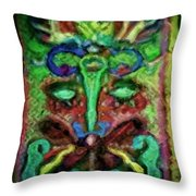 Colorful Abstract Painting Swirls And Dabs And Dots With Hidden Meaning And Secret Stories Of Birds  Throw Pillow